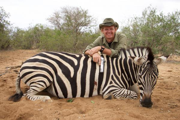 Razor Dobbs with Zebra he killed with 10mm Handgun